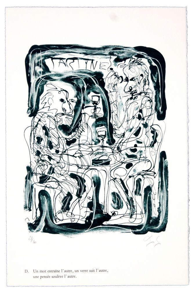 Lithographie Nørgaard - D. Un mot entraîne l'autre, un verre suit l'autre, une pensée soulève l'autre.
