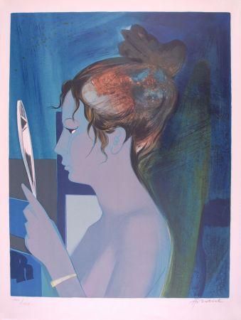 Lithographie Hilaire - Dame au miroir