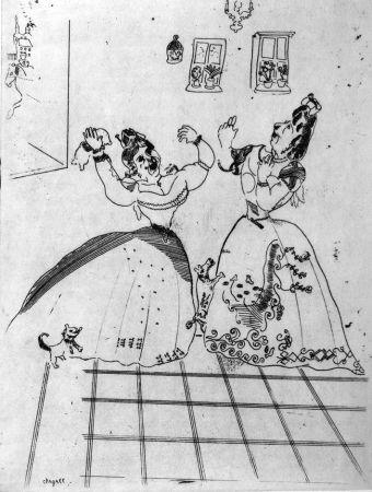 Eau-Forte Chagall - Dames charmantes et charmantes à tous égards