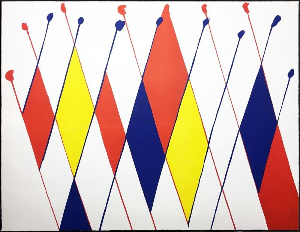 Lithographie Calder - Damier de losanges bleus jaunes rouges (1966).