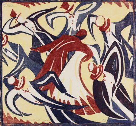 Linogravure Tschudi - Dancers