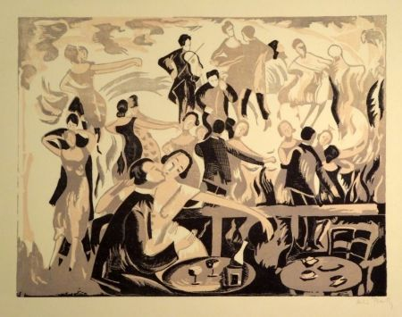 Linogravure Bailly - (Dancing/Tanzlokal)