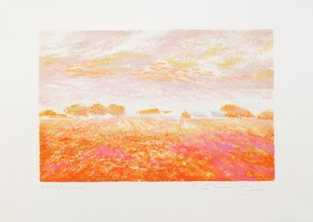 Lithographie Manoukian - Dans les champs / In the Fields