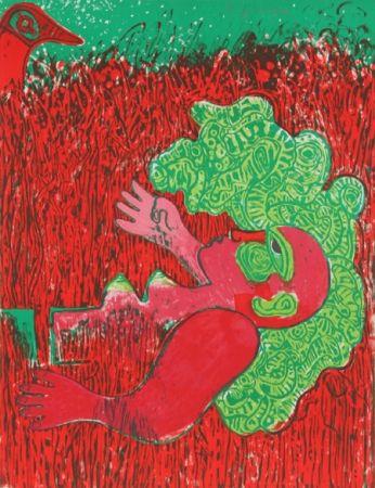 Lithographie Corneille - Dans l'infinie verticalite de l'herbe la femme
