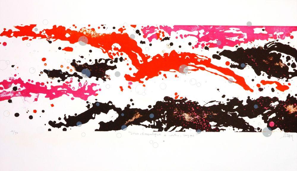 Lithographie Stholl - Danse chromatique à contre-vague