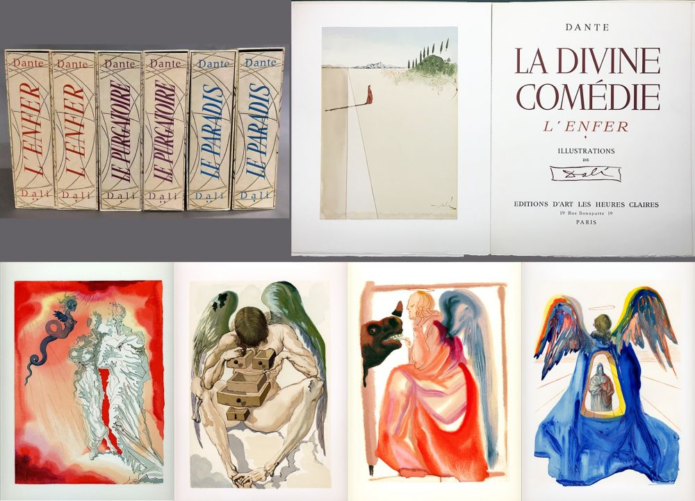 Livre Illustré Dali - Dante : LA DIVINE COMÉDIE. 6 volumes. 100 planches couleurs et suites de décompositions de couleurs.(1959)