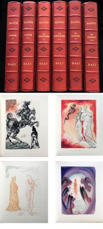 Livre Illustré Dali - Dante : LA DIVINE COMÉDIE. 6 volumes reliures éditeur. 100 planches couleurs signées. (1959)