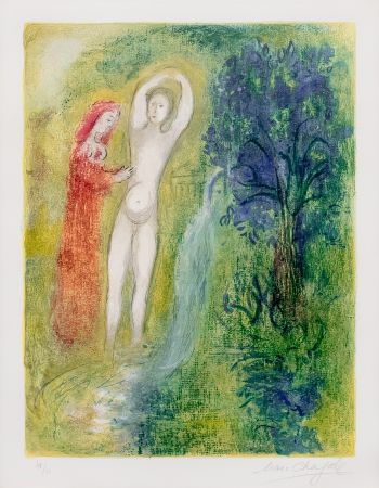 Lithographie Chagall - Daphnis et Chloe au Bord de la Fontaine, from Daphnis et Chloe