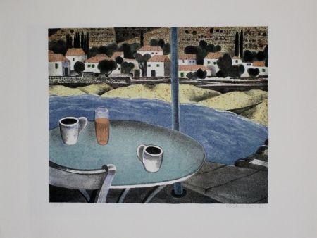 Lithographie Breiter - Das Café
