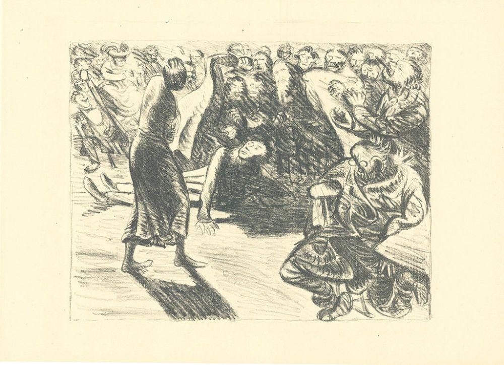 Lithographie Barlach - Das Paar in der Menge 2 (Heiliger, Strohbraut und Lumpensack)