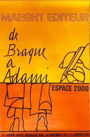 Affiche Adami - DE BRAQUE À ADAMI : Exposition 1974. Affiche originale.
