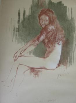 Lithographie Héroux - Demi-vierge