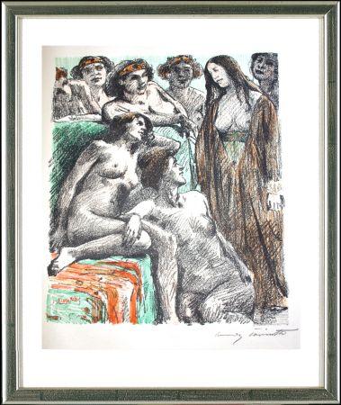 Lithographie Corinth - Der Bericht vor den Frauen