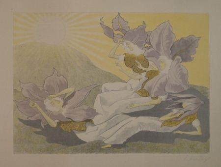 Lithographie Kreidolf - Der Blumen Erwachen. Vier liegende Clematis-Mädchen erwachen bei der aufgehenden Sonne.