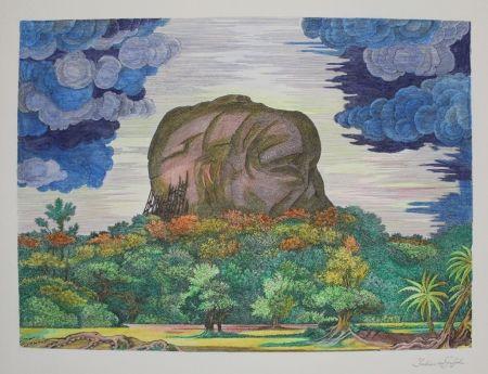 Lithographie Von Gugel - Der Fels von Sigiriya bei Tag / The Rock of Sigiriya at Daytime
