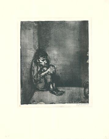 Lithographie Weber - Der Gefangene (Der Blechnapf)