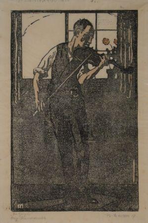Linogravure Marxer - Der Geiger