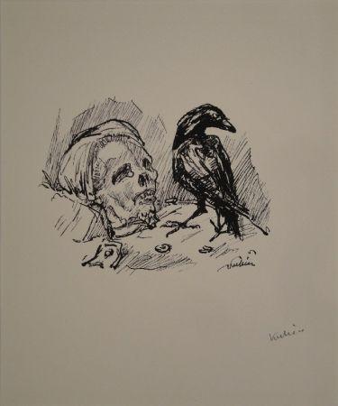 Lithographie Kubin - Der Rabe und die Tote
