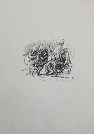 Lithographie Slevogt - Der schwierige Marsch durch den Schnee
