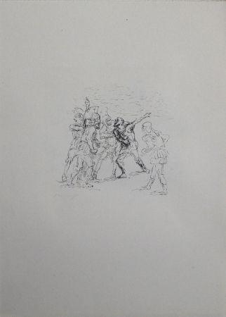 Lithographie Slevogt - Der verwundete Hellene