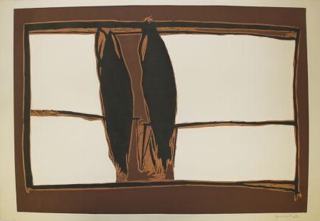 Linogravure Hernandez Pijuan - Des de la finestra I (From the Window I)