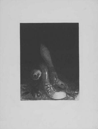 Lithographie Redon - Des fleurs tombent, e la tete d'un phyton parait