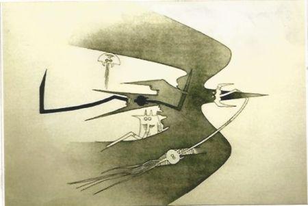 Gravure Lam - Des hommes -oiseaux, des nageurs-courbes