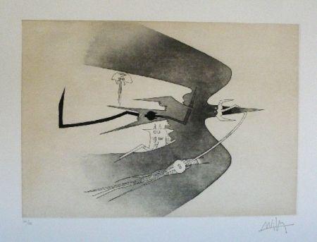 Eau-Forte Et Aquatinte Lam - Des hommes oiseaux, des nageurs courbes