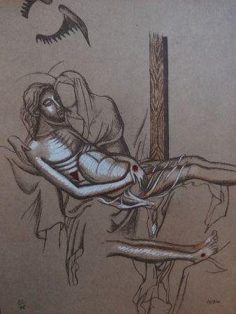 Lithographie Cueco - Descente de Croix
