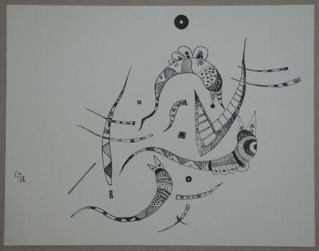 Lithographie Kandinsky - Dessin à la plume, 1938