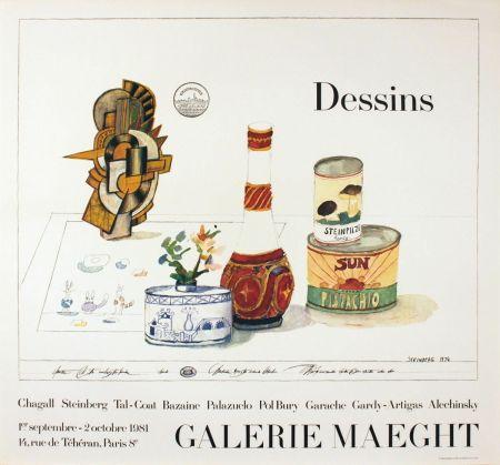 Affiche Steinberg - DESSINS. Galerie Maeght 1981. Tirage de luxe de l'affiche.