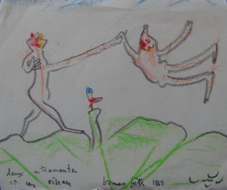 Aucune Technique Matta - Deux astronautes et un oiseau