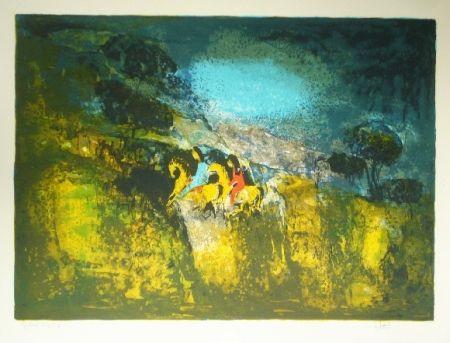 Lithographie Lebadang - Deux cavalieres
