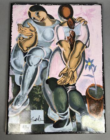 Céramique Dali - Deux femmes avec pot de fleur