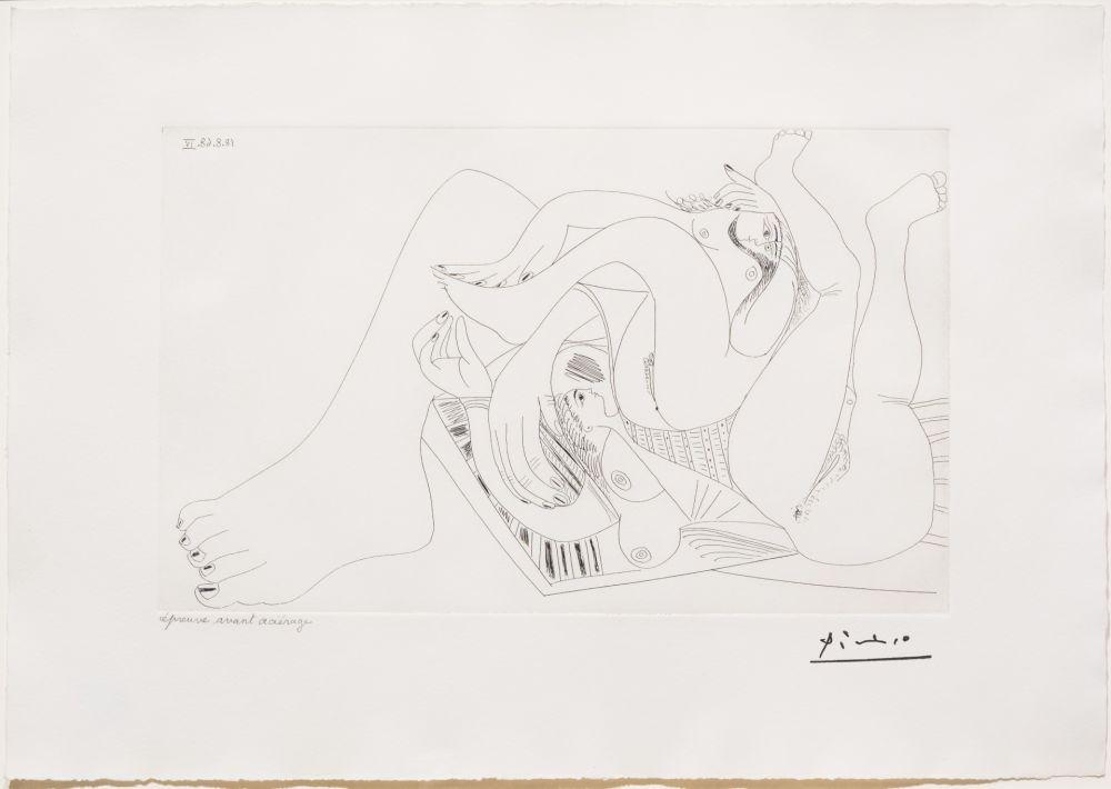 Gravure Picasso - Deux Femmes Batifolant