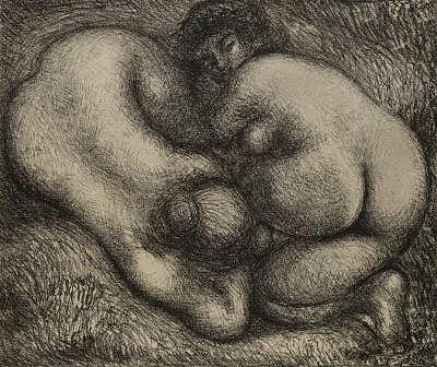 Lithographie Maillol - Deux femmes dans l'herbe.