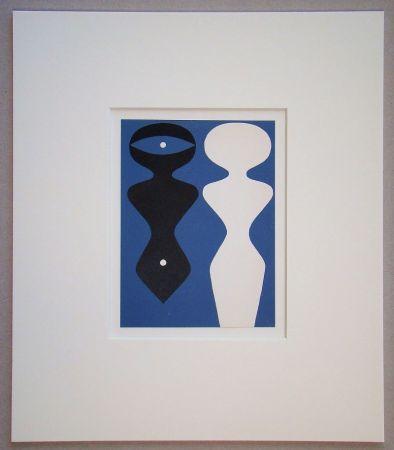 Gravure Sur Bois Arp - Deux figures sur fond bleu