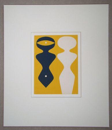 Gravure Sur Bois Arp - Deux figures sur fond jaune