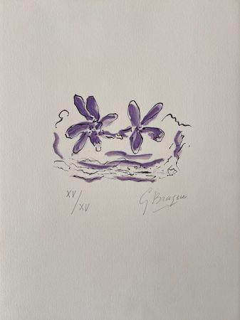 Gravure Sur Bois Braque - Deux fleurs violettes