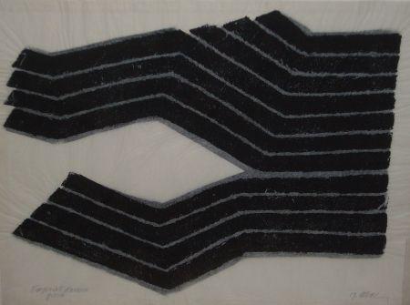 Lithographie Ubac - Deux labours empreinte ardoise