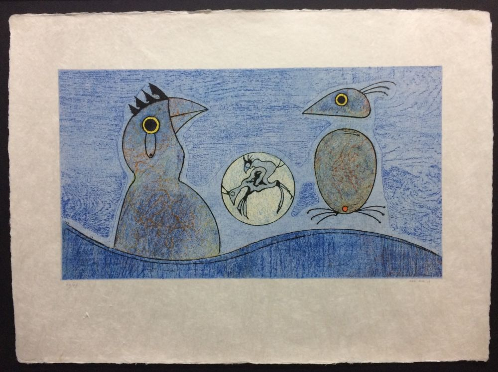 Lithographie Ernst - Deux Oiseaux
