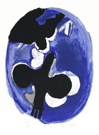 Lithographie Braque - Deux oiseaux sur fond bleu (Two birds on a blue background)