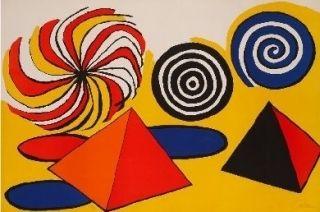 Lithographie Calder - Deux pyramides trois arcs de cercle