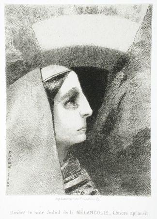 Lithographie Redon - Devant le noir soleil de la Mélancolie, Lénore apparaît