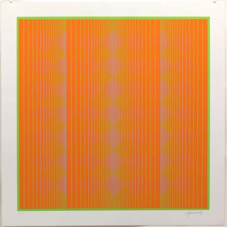 Sérigraphie Stanczak - Diamonds Floating in Orange