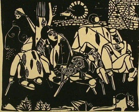 Gravure Sur Bois Campendonk - Die Bettler (nach Bruegel) / The Beggars (after Bruegel)