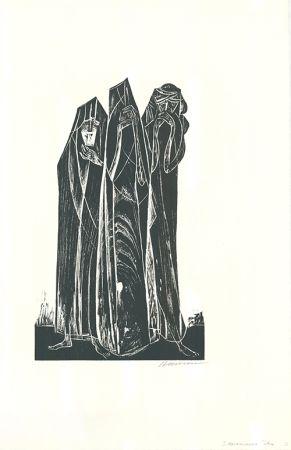 Gravure Sur Bois Hansen-Bahia - Die drei Marien / The Three Marys
