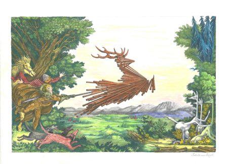 Lithographie Von Gugel - Die Jagdt ist älter als das Wild