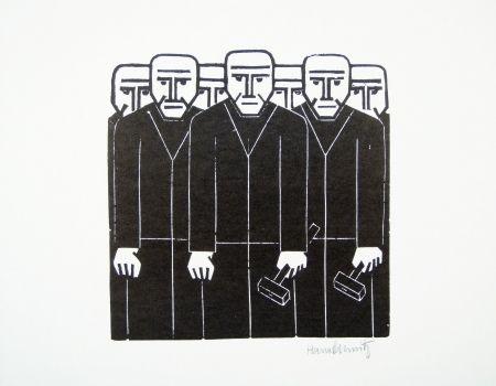 Linogravure Schmitz - Die Masse (The Mass)