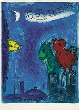 Lithographie Chagall - Die Scheusale von Notre-Dame